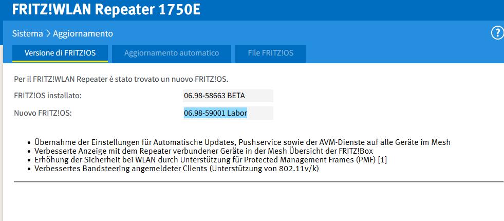 Fritz repeater 1750E aggiornamento firmware Repea10