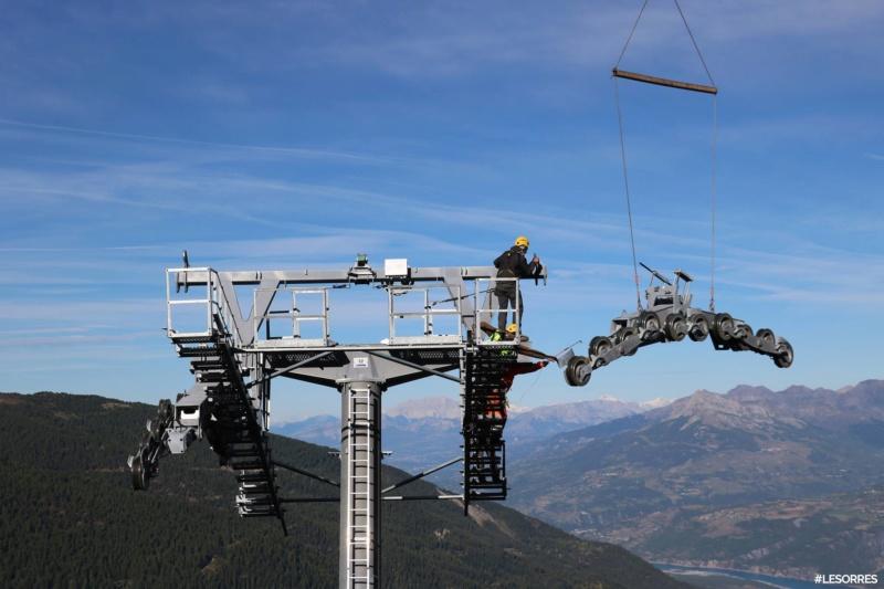 Construction télésiège débrayable Pic Vert, Les Orres D-Line Doppelmayr 42918510