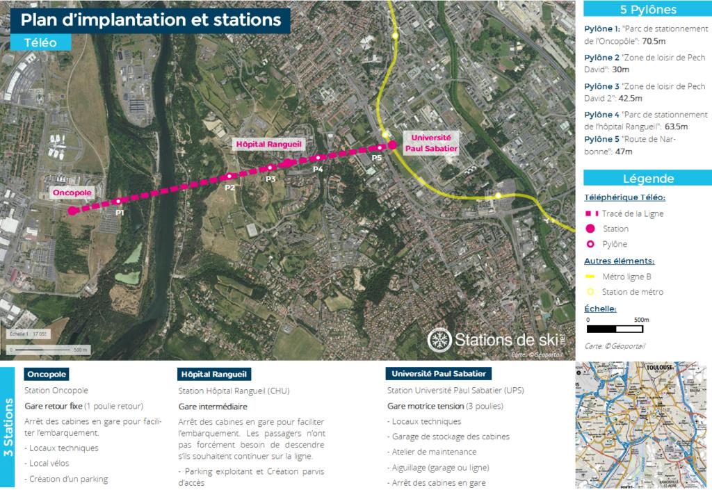 Variantes du tracé de la ligne - Téléphérique Téléo Toulouse Ligne10