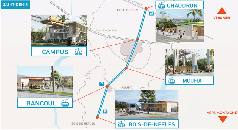 Construction télécabine débrayable 10 places (TCD10) La Réunion CINOR Trace10