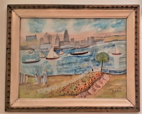 folk art watercolor skyline painting Water135