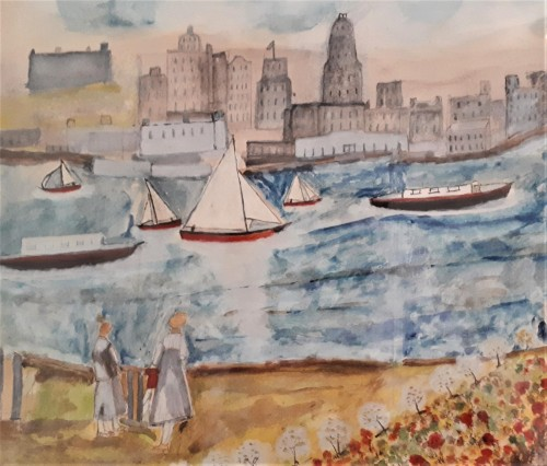 folk art watercolor skyline painting Water137