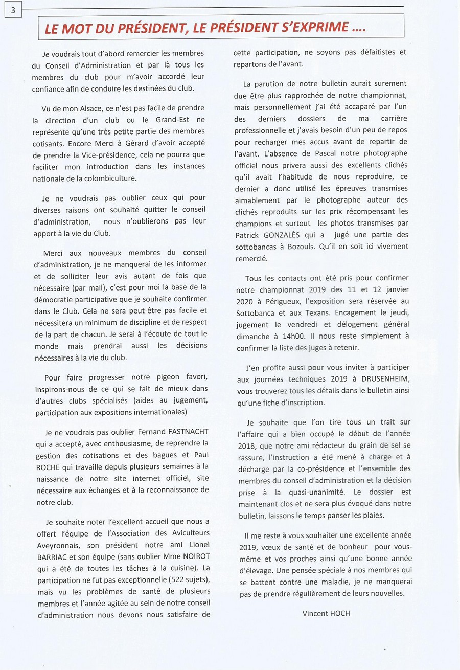 LE MOT DU PRÉSIDENT ( BULLETIN  N°  128 ) 212