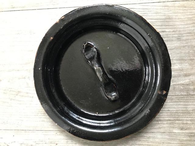 LARGE ORIENTAL BLACK GLAZED POTTERY HOT WATER KETTLE Img_3021