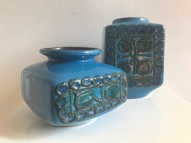 TWO BLUE GLAZED MOULDED STUDIO POTS - VEB STREHLA, East Germany Img_3615