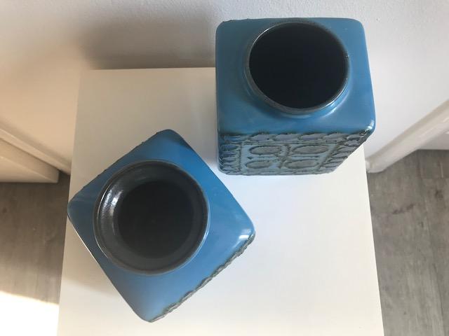 TWO BLUE GLAZED MOULDED STUDIO POTS - VEB STREHLA, East Germany Img_3616