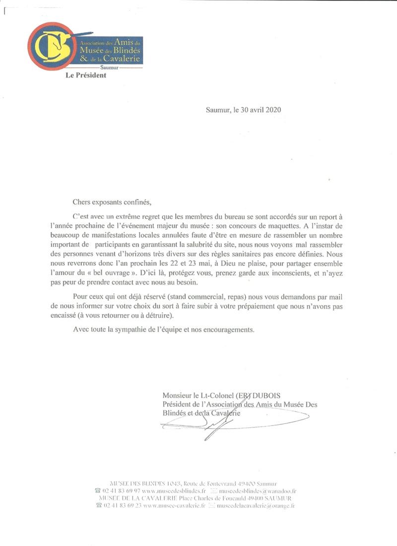 """Concours international de maquettes """"Saumur 2020""""     Report Annula10"""