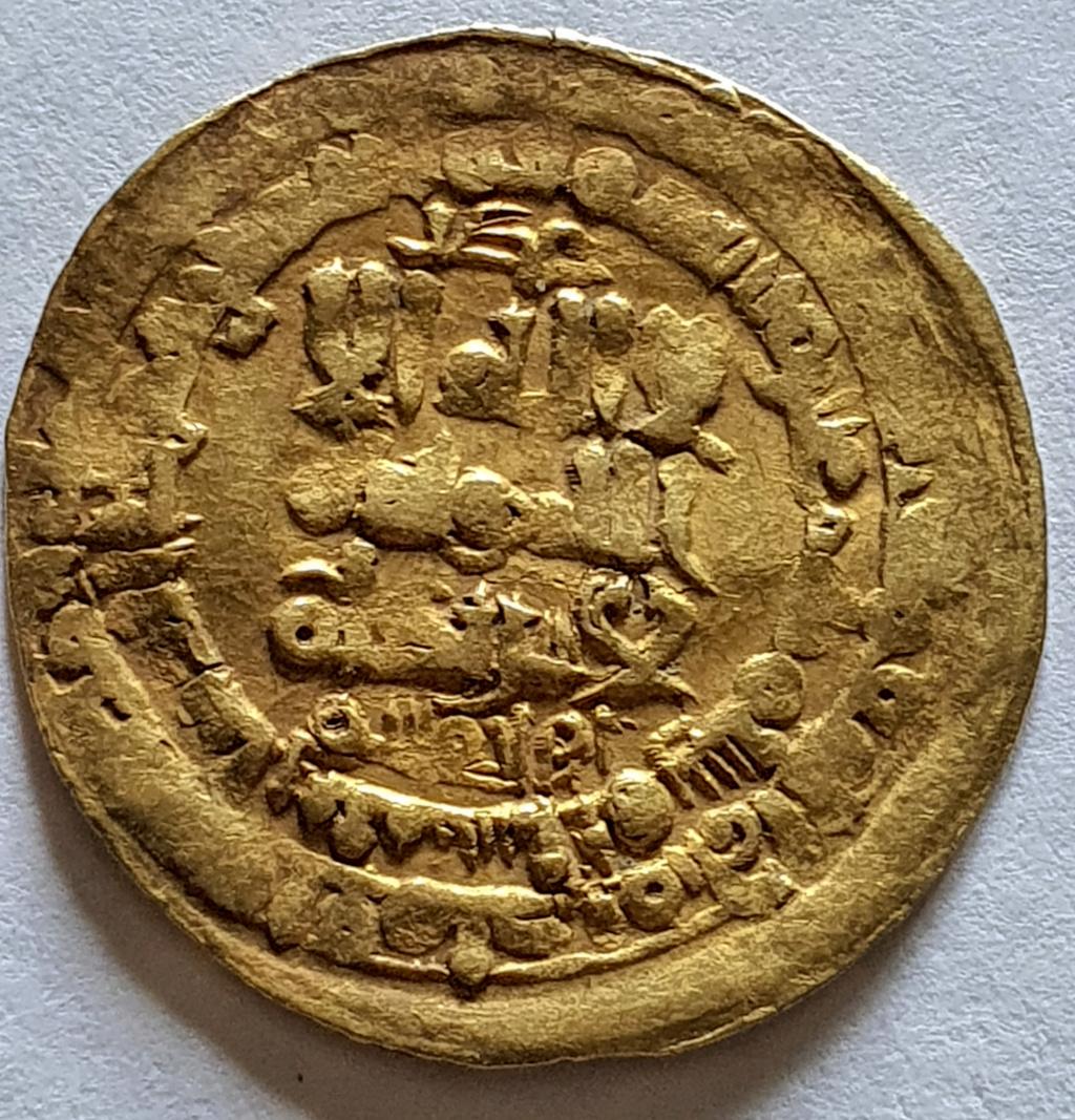 Dinar Ghaznavid, a nombre del califa abassí al-Qadir billah, Mahmud, Nishapur, 413 H 2318a10
