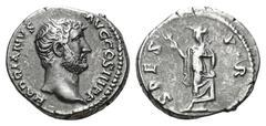 Denario de Adriano. SPES  P. R. Roma Hadria10