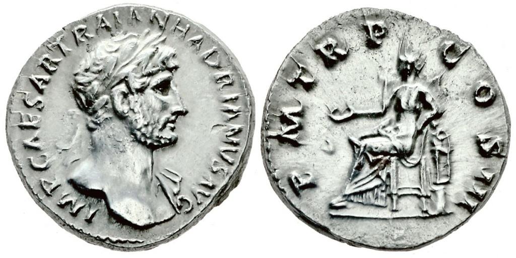 Denario de Adriano. P M TR P COS III. Salvs. Roma Trajan10