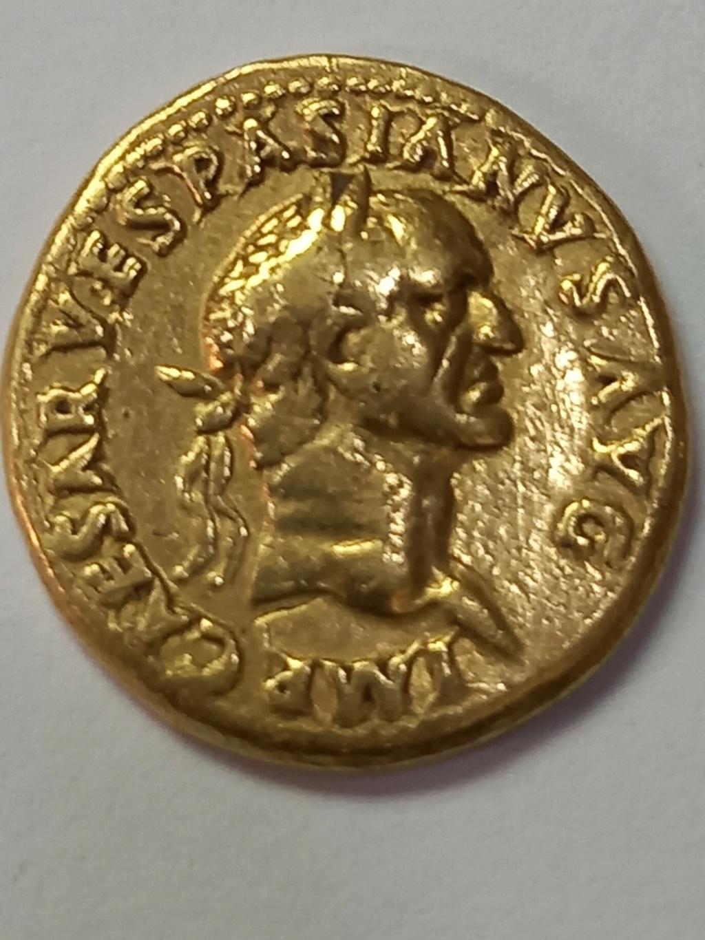 Reproducción de Aureo de Vespasiano?. TR POT COS III. Aequitas Vespas12