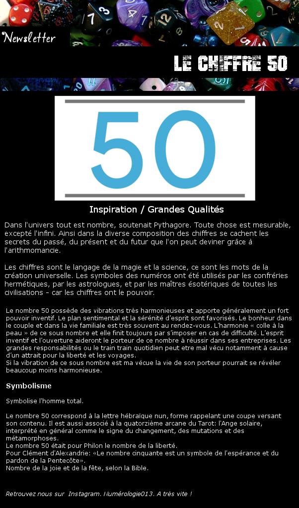 Newsletter 50 - Numérologie : Le chiffre 50 Chiffr20