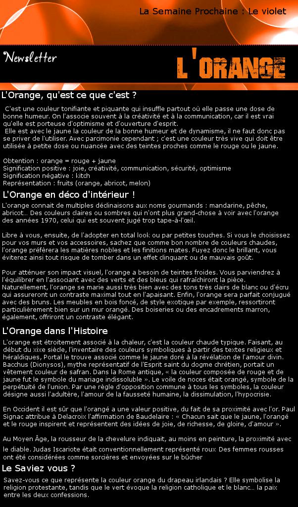 Newsletter 2 - Les couleurs : L'Orange Orange12