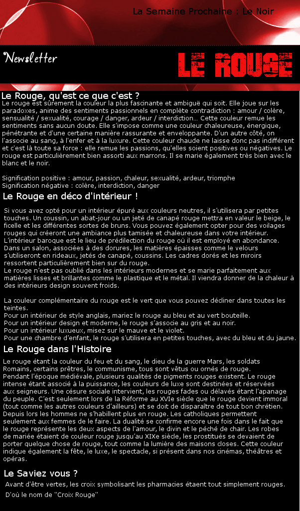 Newsletter 4 - Les couleurs : Le Rouge Rouge10