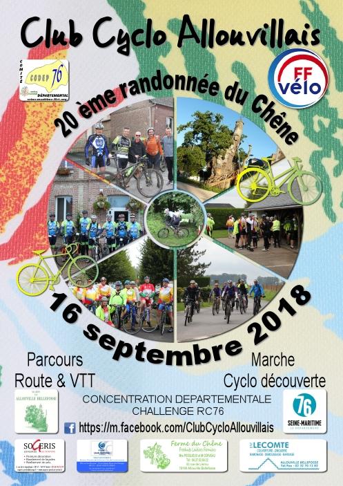 [16 septembre 2018] 20ème randonnée du chêne organisée par le Club Cyclo Allouvillais Affich10