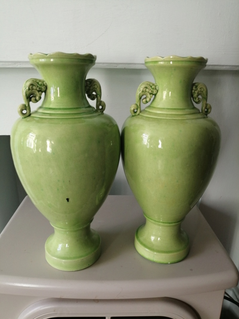 Large lime green Urn shaped ceramic vases Img_2015