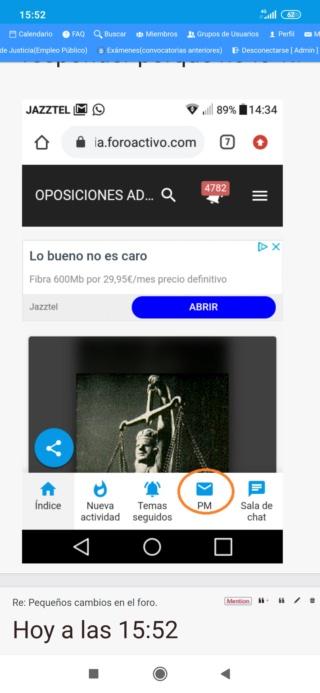 Notificación para mensajes privados en versión móvil Screen52