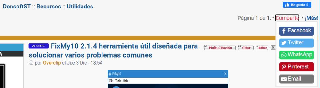 """No despliega redes al darle a """"Comparte"""" en blog[ticket #17597] Foro11"""