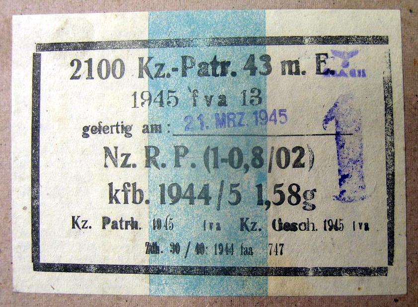 7,92 x 33 Kurz Patrone - Pistolen Patrone 43 m.E - Page 2 1945_f11