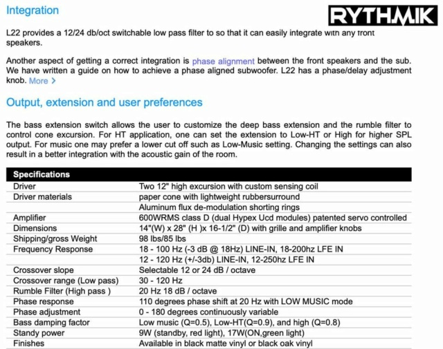 "Rythmik L22 Dual 12"" Driver HT/music Direct Servo subwoofer 20231010"