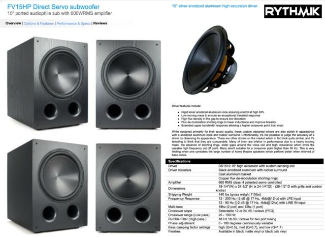 "Rythmik FV15HP 15"" Ported Audiophile with 600WRMS Subwoofer 20785310"