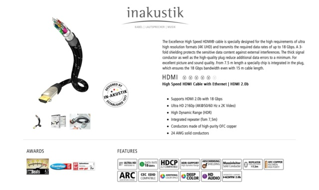 Inakustik Excellence High Speed HDMI 2.0 Cable (1.5m) 20845110