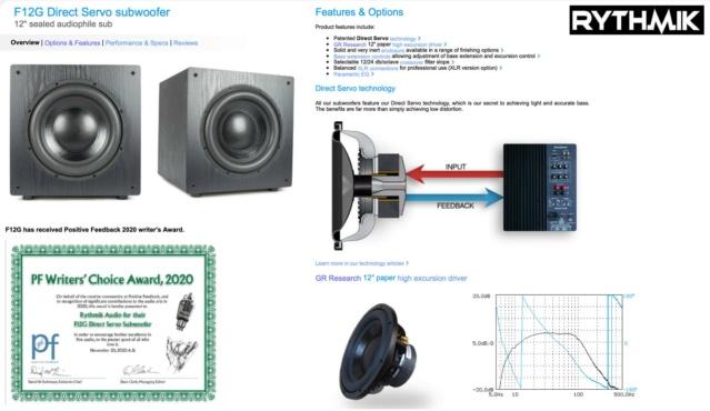 """Rythmik F12G PEQ 12"""" Sealed Audiophile Direct Servo Subwoofer  23358010"""