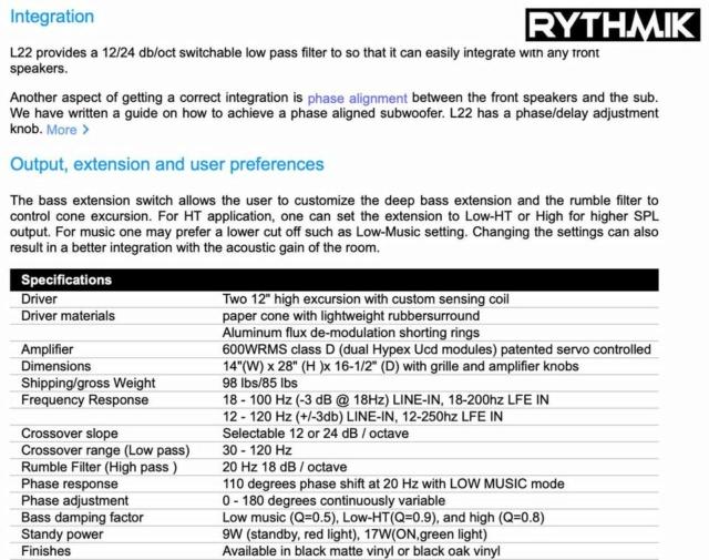 "Rythmik L22 Dual 12"" Driver HT/music Direct Servo subwoofer 413"