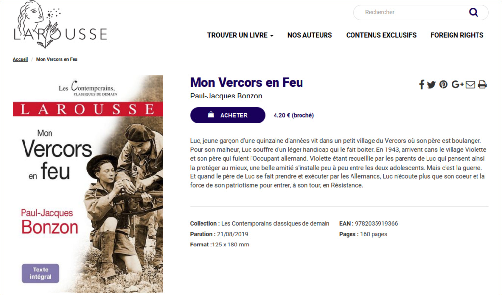 Mon Vercors en feu réédité chez Larousse dans la collection Les Contemporains classiques de demain Monver10