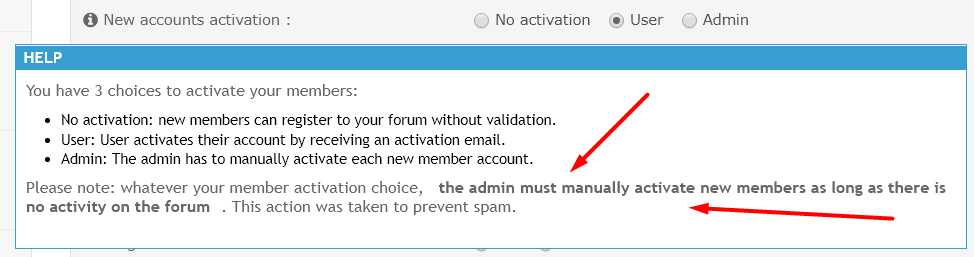 "Possible bug with the ""New accounts activation"" option Scre1634"