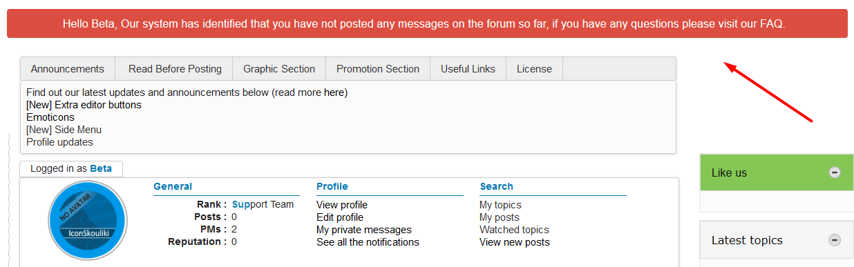 [New] Automatic message to members with no posts Scree570
