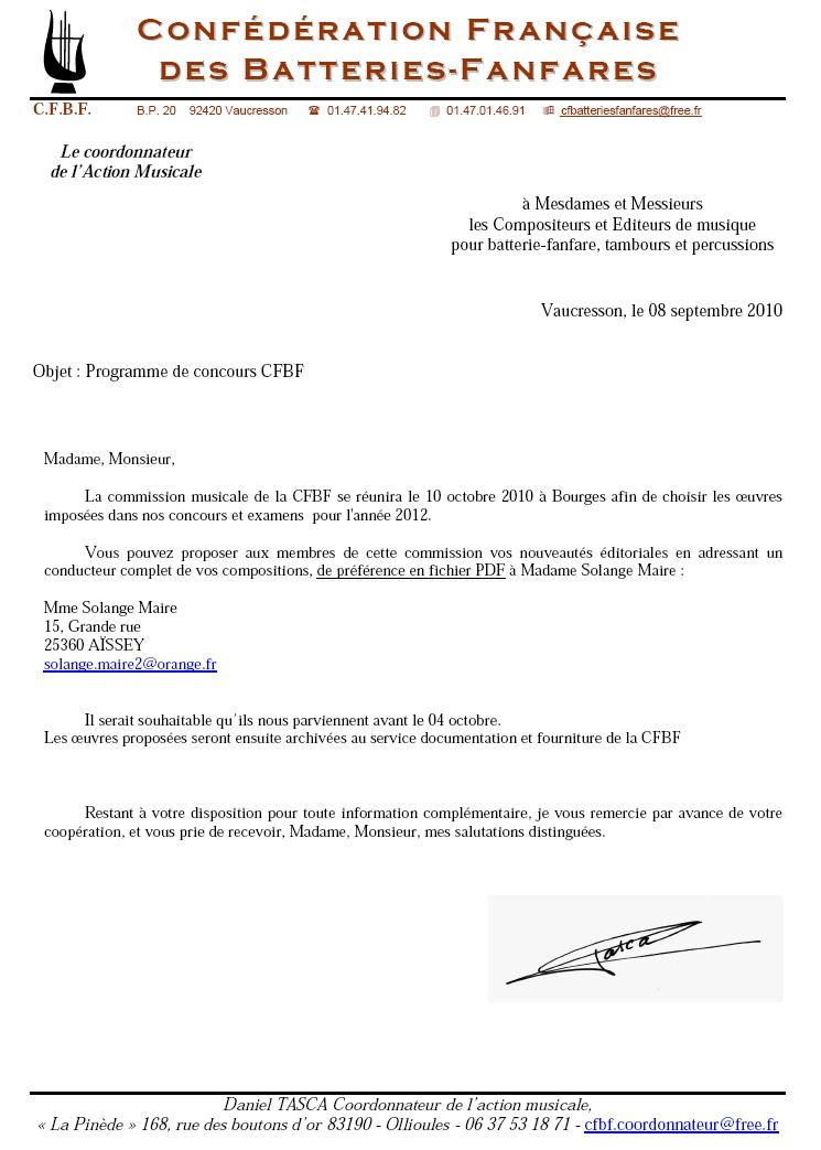 Réunion de la commission musicale CFBF Programme  Courri10