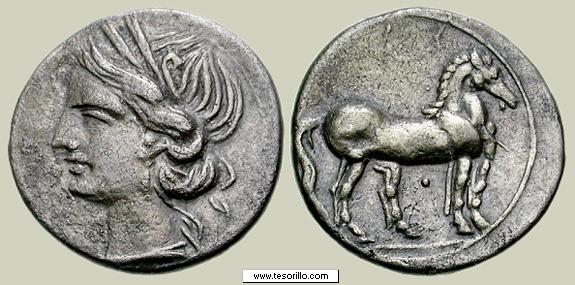 Trozo de doble shekel cartaginés Cartag10