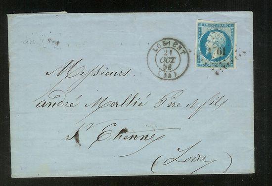 Frankreich  -  Poststücke mit Marken Type Napoleon Faltbr12