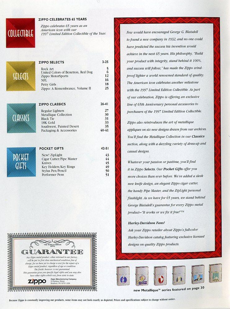 Catalogue ZIPPO Collection 1997 (version américaine) 211