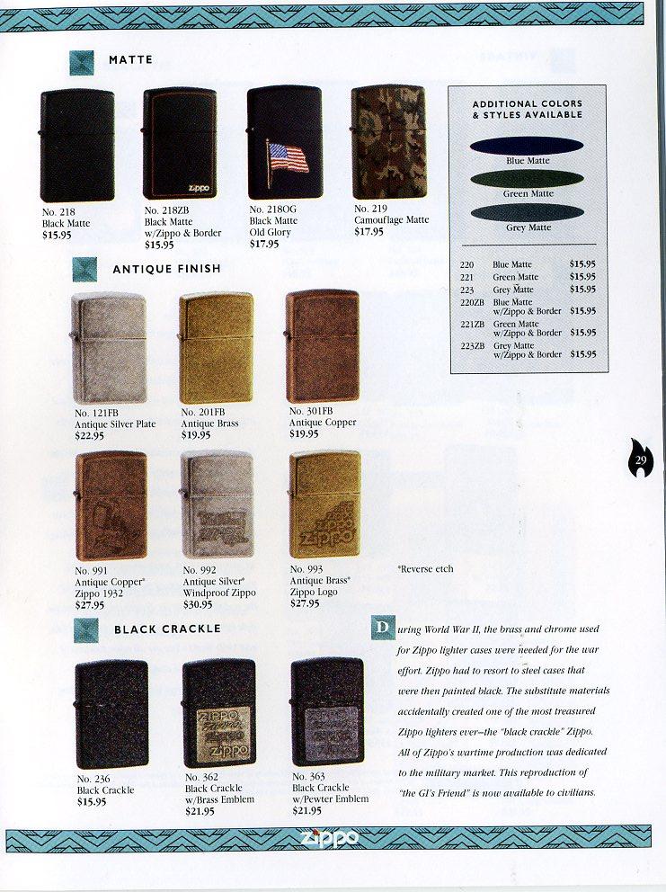 Catalogue ZIPPO Collection 1997 (version américaine) 2911
