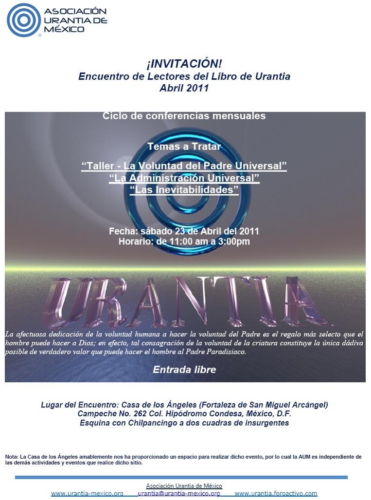 Encuentro de Lectores del Libro de Urantia 23 Abril 2011 - Mexico DF Invita10