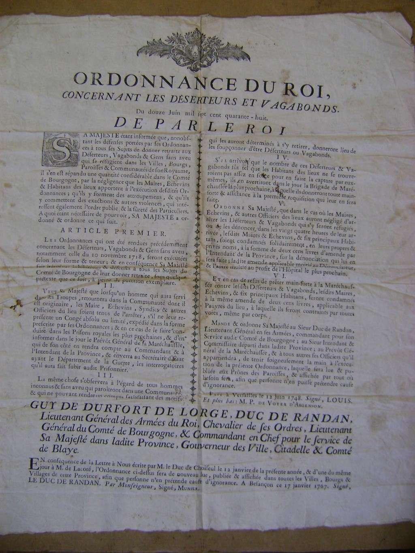 Affiche sur les déserteurs en 1748. Dsc01410