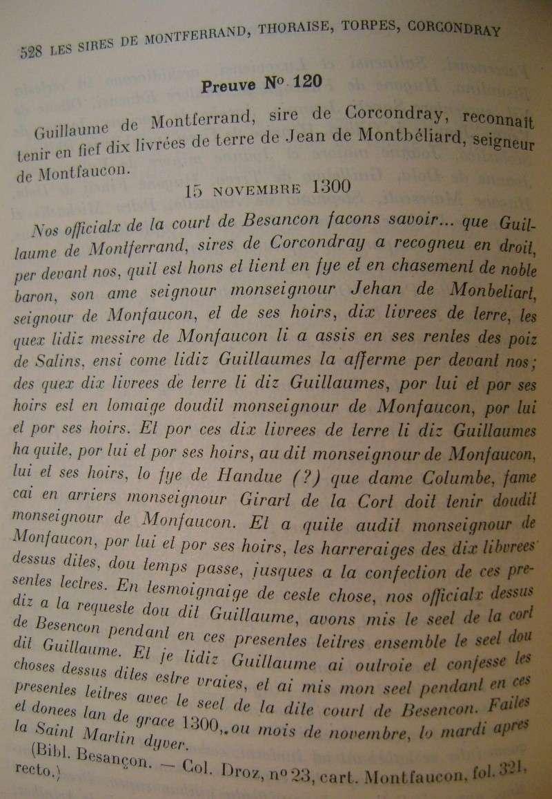 Beau livre sur l'histoire des 13°, 14° et 15° siècles en Franche Comté. Dsc05218