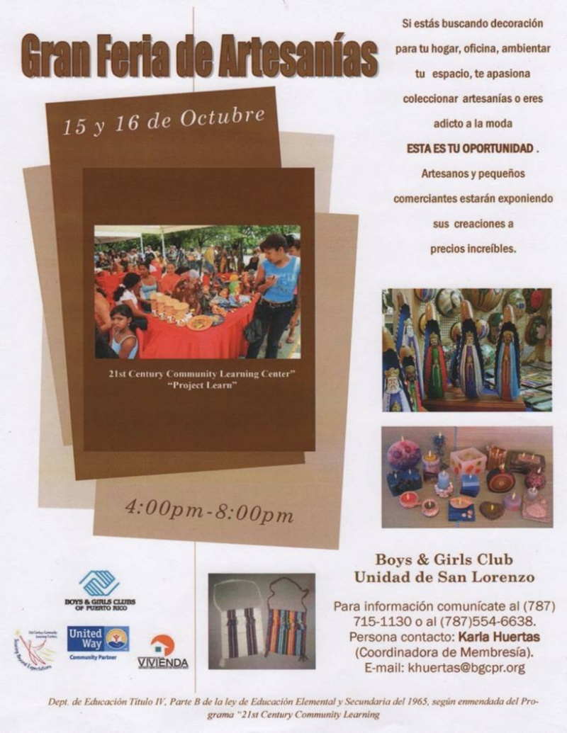 Boys And Girls Club presentará una Gran Feria de Artesanias en San Lorenzo Bgc_an10