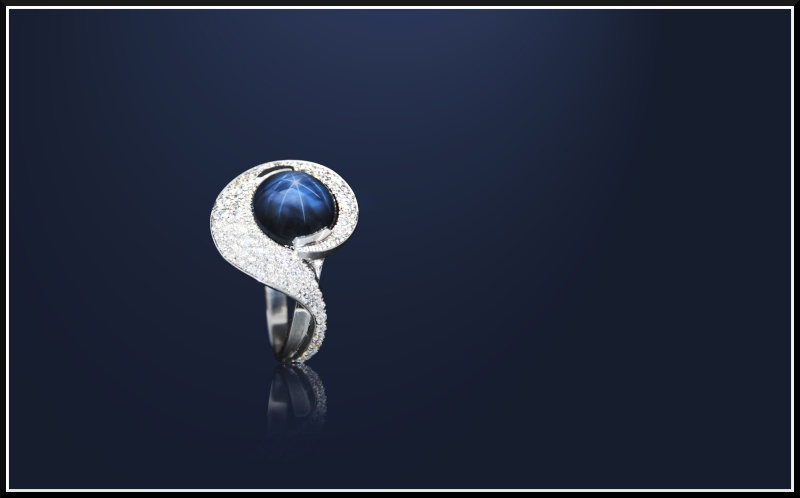 Bague en Or blanc, Saphir étoilé et Diamants Saphir10