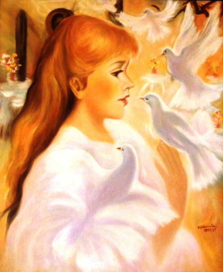 La jeune fille et ses colombes (texte de Masirène, toile de Shérazade) Copie_10