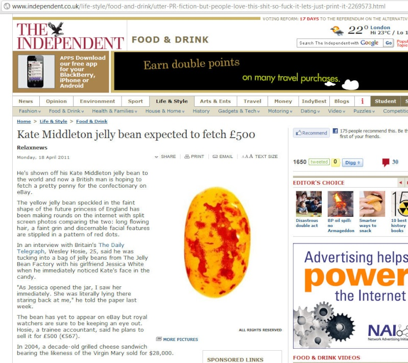 Kate Middleton jelly bean expected to fetch £500 (just LOVE the URL :-)) Indy0110