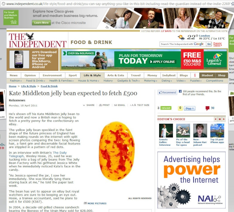 Kate Middleton jelly bean expected to fetch £500 (just LOVE the URL :-)) Indy0210