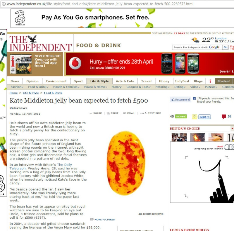 Kate Middleton jelly bean expected to fetch £500 (just LOVE the URL :-)) Indy0310