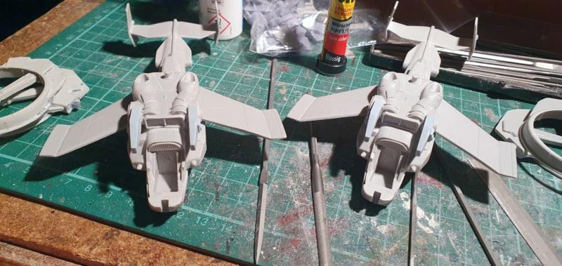 """Zwei AT-99 """"Skorpion"""" Gunships aus Avatar, 1:72 von Fantastic Plastic 20210559"""