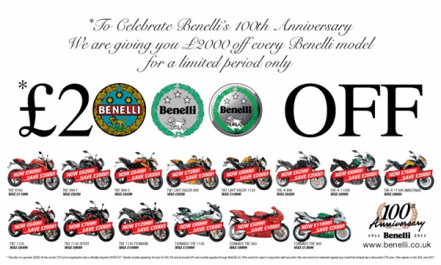 Benelli celebrates 100 years with £2000 savings  Benell50