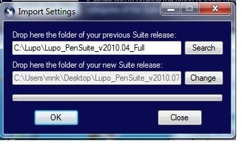 Lupo 2010.07 Full - Import settings fails. Error110