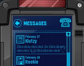 New Club Penguin EPF Message From Klutzy! Klutzy10