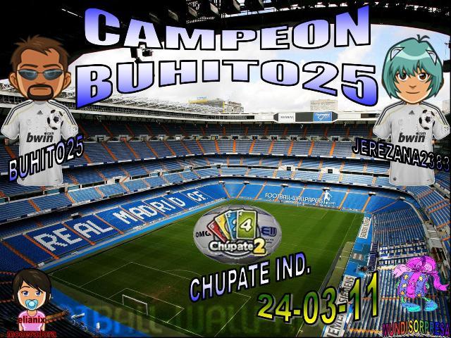 FELICITACIONES A BUHITO25 CAMPEON Y LOKILLO261 SUB-CAMPEON DE CHUPATE2 IND. 24-04-11 Trofeo52